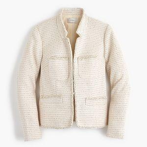 J Crew metallic tweed knit blazer front pocket 00